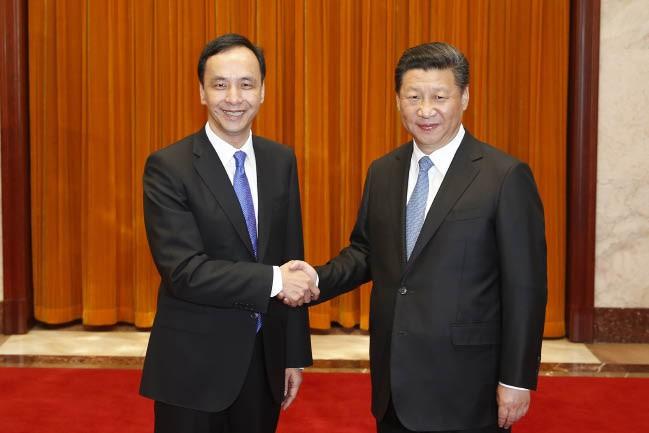 中共中央总书记习近平在北京人民大会堂会见中国国民党主席朱立伦