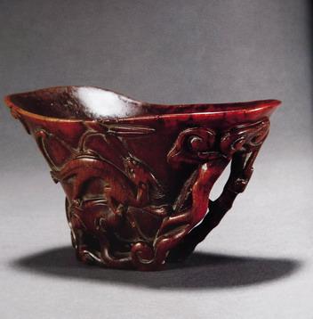"""而且,犀角杯上的山水创作,往往都有著名的典故出处,比如""""兰亭序"""","""""""