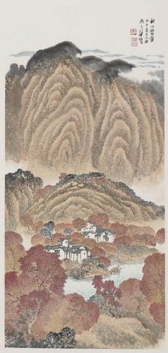 农村大门山水瓷砖画